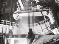1979 view of Electric Arc Furnace producing its first heat